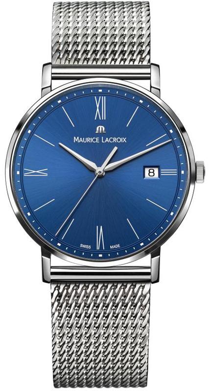 Maurice lacroix eliros reloj azul para caballeros con brazalete de